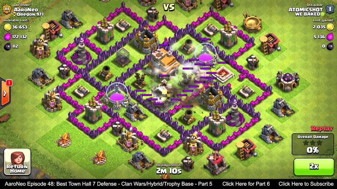 Town hall level 7 th7 defense strategy clan wars hybrid trophy