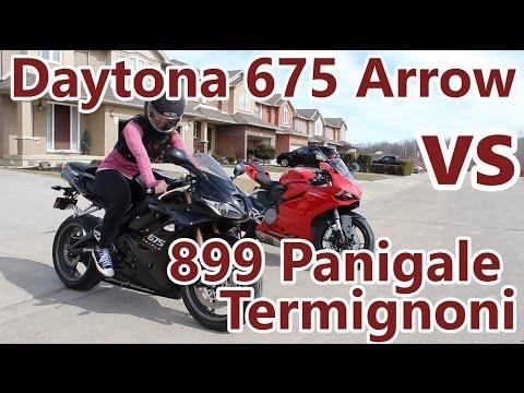 Triumph Daytona  Arrow vs  Panigale Termignoni Exhaust Showdown