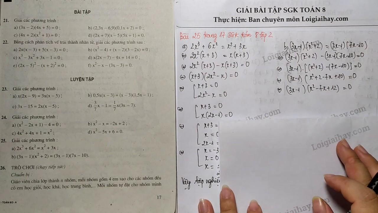 Giải bài 25 trang 17 SGK Toán 8 tập 2