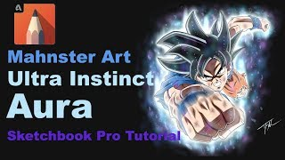 How to Draw ULTRA INSTINCT AURA | Dragon Ball Super | Sketchbook Pro Tutorial | Mahnster Art