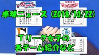 卓球ニュース(18/10/22)Tリーグ女子の各チーム紹介など