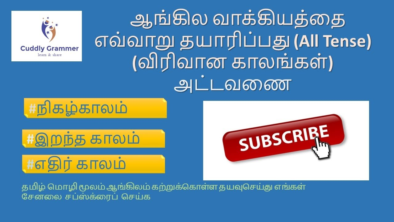 comprehensive table for all tenses learn spoken english through tamil also rh youtube