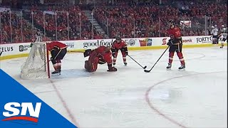 Ducks Score After Flames' Mike Smith Gets Caught Out Of The Net