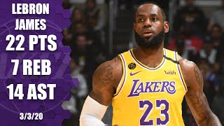 Lebron james scores 22 points and dishes out 14 assists giving him 10 games with or more on the season, adds seven rebounds in los angeles...