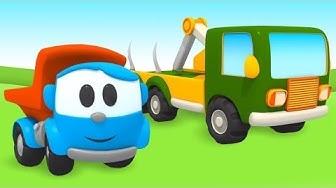 Kuormuri Leo & tukkirekka. Autojen nimien oppimista lapsille. Vauvojen piirretyt.