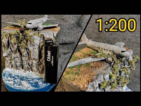 ДИОРАМА С ЗАБРОШЕННЫМ САМОЛЕТОМ Ли-2 в масштабе 1:200. КАК СДЕЛАТЬ морскую диораму из эпоксидки?