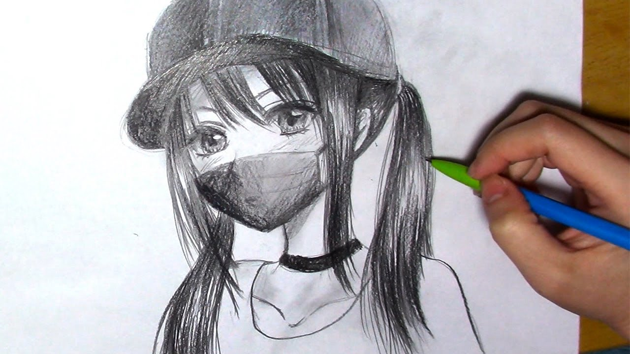 How to Draw an Anime Girl with Cap and a Mask [Real time - easy]