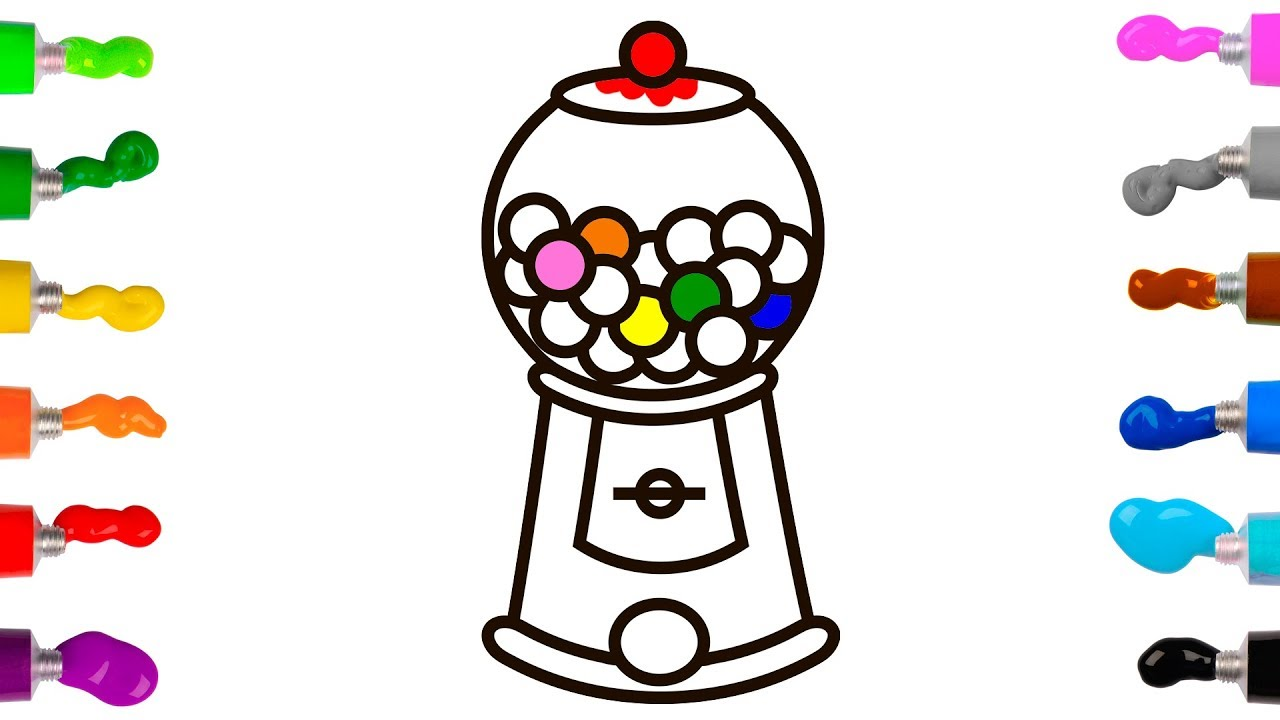 Gumball Machine & Bubble Gum Balls - Coloring Pages for Kids & Toddlers