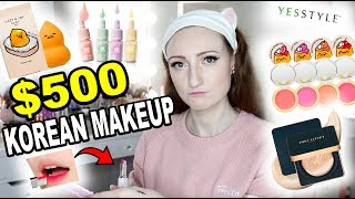$500 FULL FACE OF KOREAN MAKEUP!! | Pony Effect, Holika Holika, Tony Moly, Etude House & More!