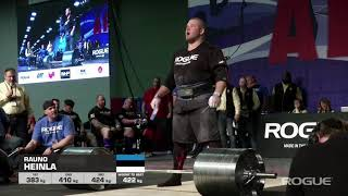 Deadlift 424 kg 2018 Arnold Strongman Classic ROGUE Elephant Bar Deadlift  424kg Rauno Heinla