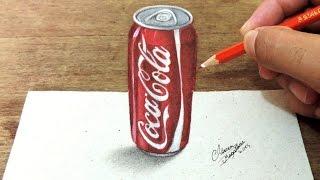 Como Desenhar Uma Lata de Coca Cola em 3D ( How to draw in 3D )