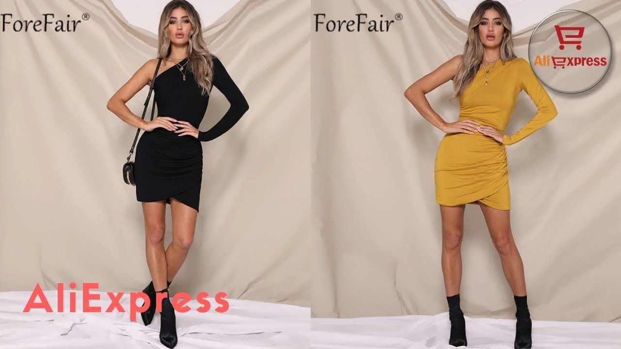 c4ac472c532 Dress From AliExpress. One Shoulder Sexy Bodycon Dress Women Autumn Long  Sleeve Club Party Dress.