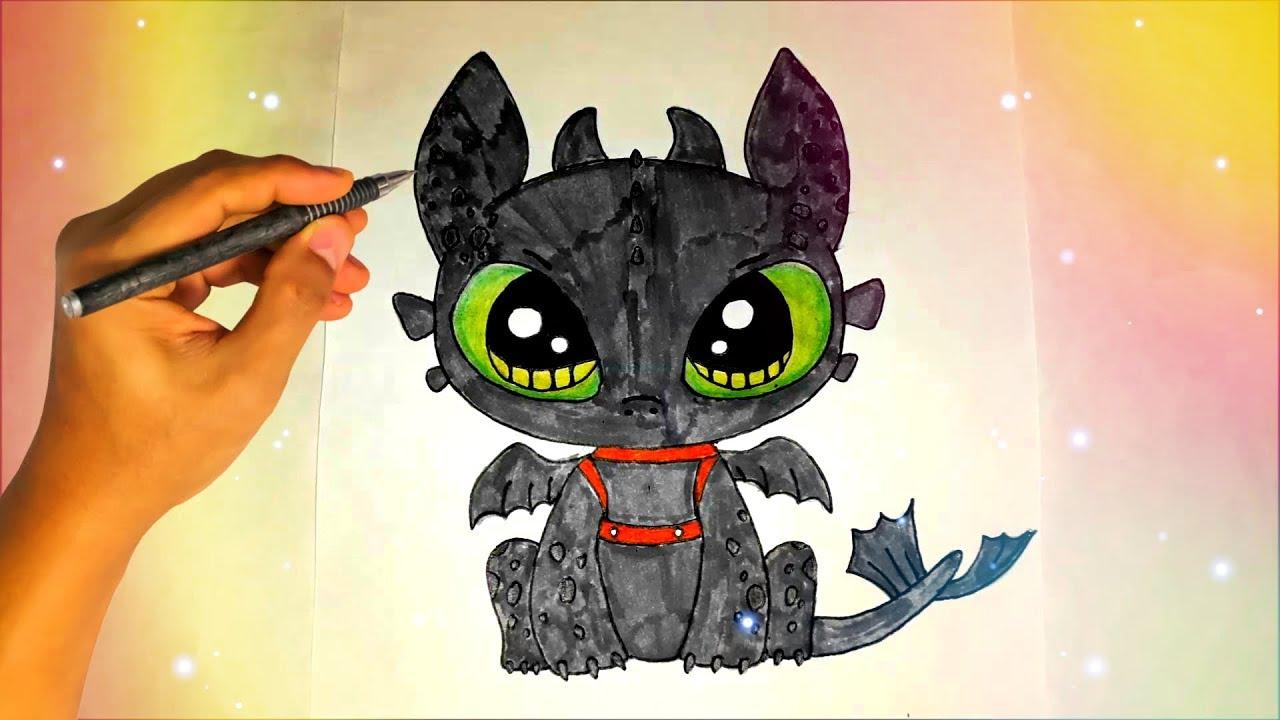 Как нарисовать кавайного Беззубика из мультфильма Как ...