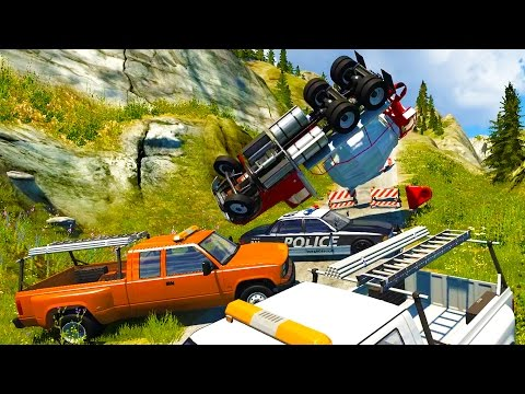 Slow Motion Crashes, Multi Vehicle Rollovers - BeamNG Drive Crash Compilation Gameplay Highlights