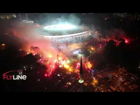 Fantastic Besiktas fans celebrating  Turkish football  championship / Istanbul Turkey - 15 May 2016
