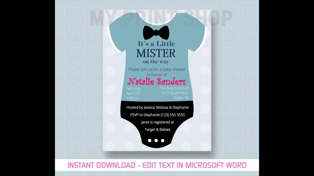 Baby Boy Shower Invitation Template - YouTube