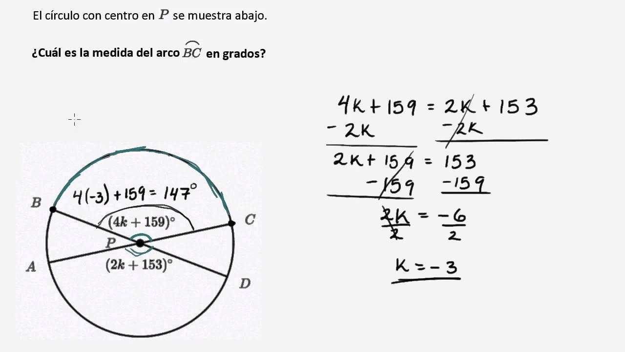 ejemplo de medida de arco con ecuaciones