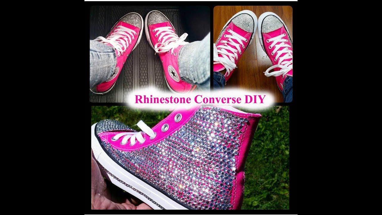 dec14365982f DIY Rhinestone Strassed Bling Pink Converse - YouTube