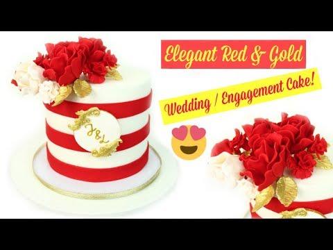 Elegant Gold Red Rose Wedding Cake Engagement Cake Tutorial Youtube