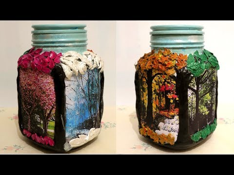 DIY| How to make 4 seasons decoration on glass jar.