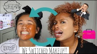 MAKEUP SWITCH CHALLENGE | ME AND LING SWAP MAKEUP BAGS!!