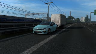 Please Subscribe For More Videos   Details & Download From http://www.modhub.us/euro-truck-simulator-2-mods/volkswagen-scirocco-r-v1r40-1-38/      Fixed sound and horn on 1.38 Credits: trzpro
