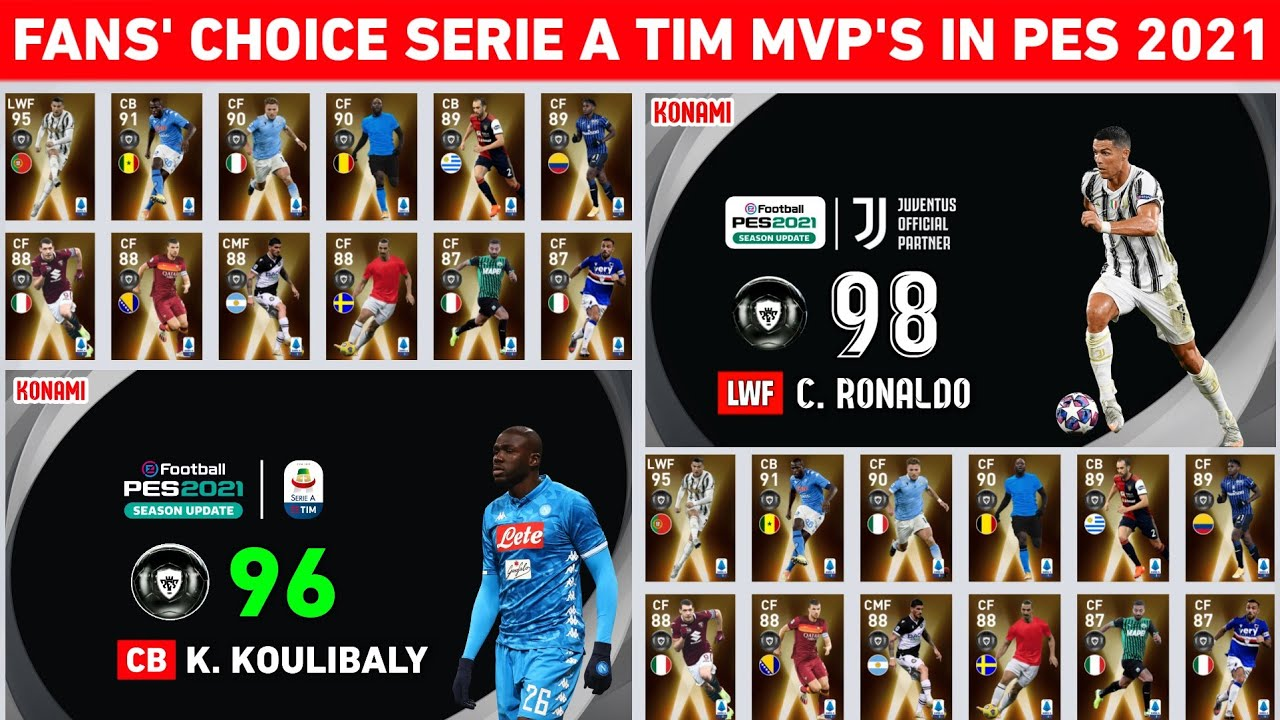 Upcoming Fans Choice Serie A Tim Mvp S Featured Players Official Max Ratings In Pes 2021 Mobile Pc Youtube