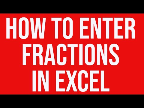 How to enter fractions in an Excel worksheet