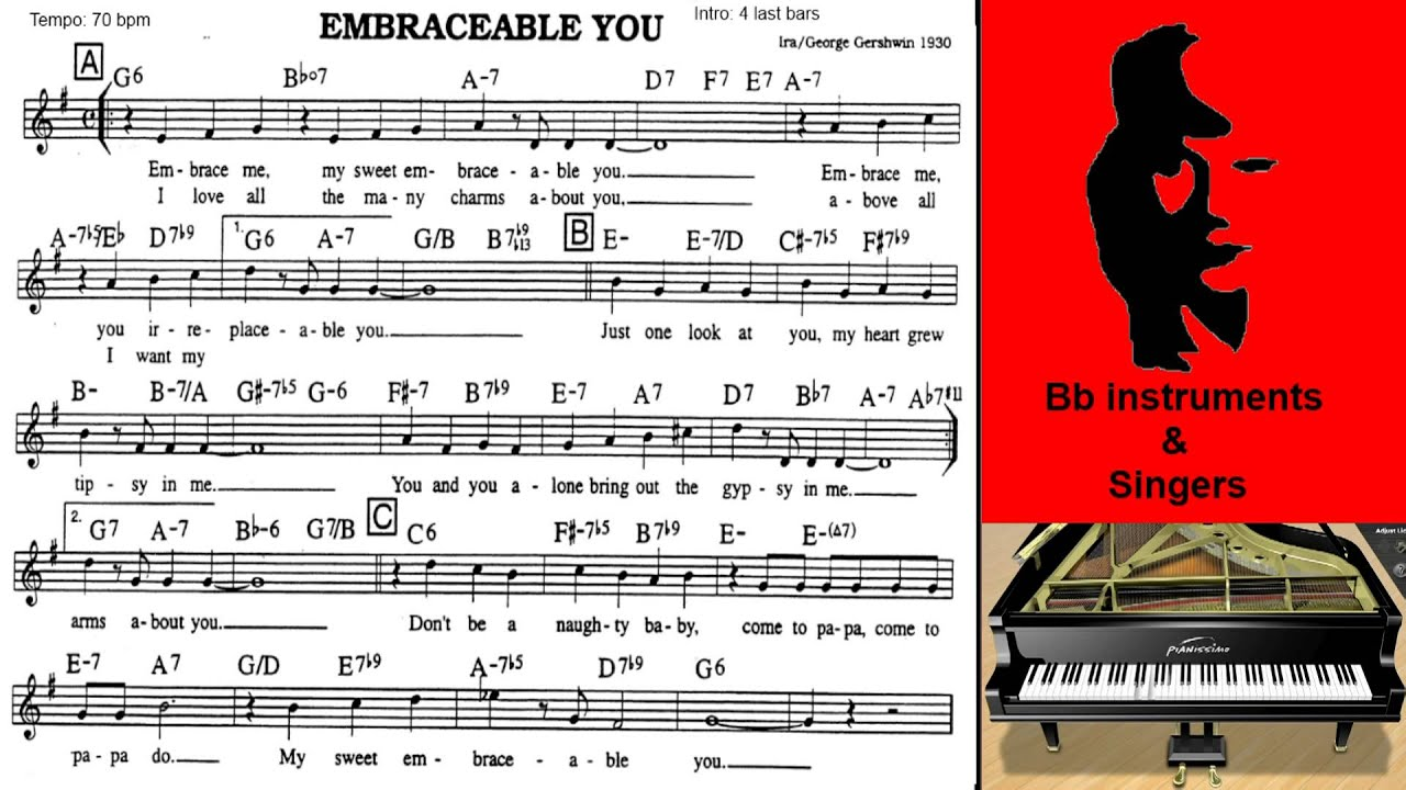 Embraceable You 70 Bpm Play And Singalong Youtube
