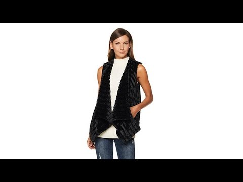 G by Giuliana Sculpted Faux Fur Draped Vest