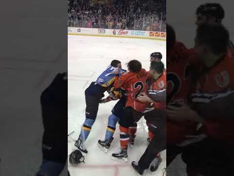 Toledo Walleye vs Kansas City Mavericks brawl 2•10•18