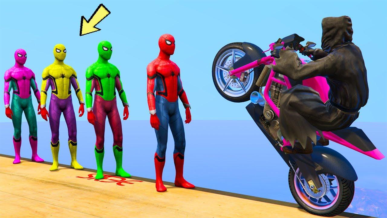 GTA 5 Crazy Ragdolls SPIDERMAN vs Ghost vs Minecraft jumps/fails (Euphoria Physics Funny moments)