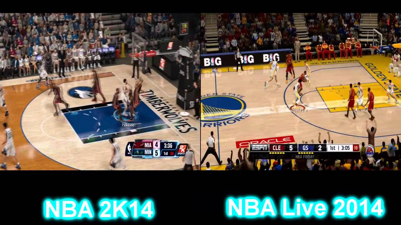 nba 2k14 vs nba live 2014 gameplay comparison ps4 youtube