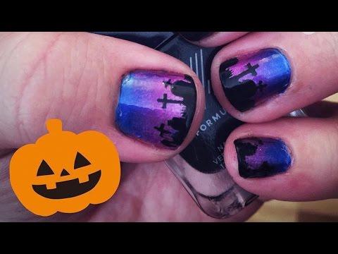 Halloween Graveyard Nail Art Tutorial