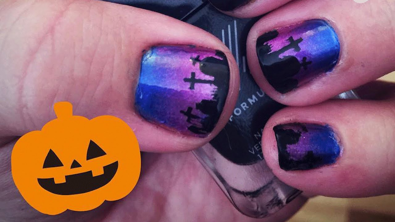 Halloween Graveyard Nail Art Tutorial - YouTube