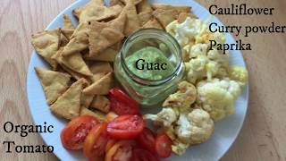 Three VEGAN meal ideas- Chickpea tortilla chips, loaded potatoes with white bean mayo sauce