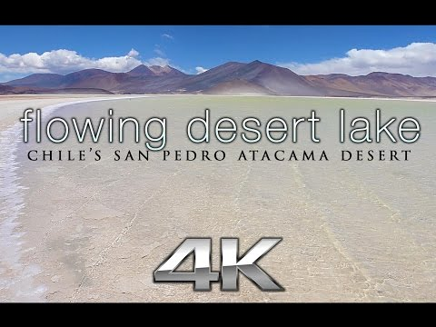 "4K Moving Art Scene: ""Flowing Desert Lake"" Chile's San Pedro Atacama Static Video"