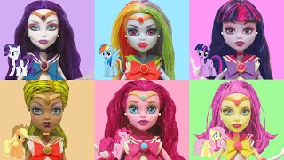 Play Doh  Rainbow Dash Pinkie Pie Applejack Rarity Fluttershy Twilight Sparkle Monster High Dolls