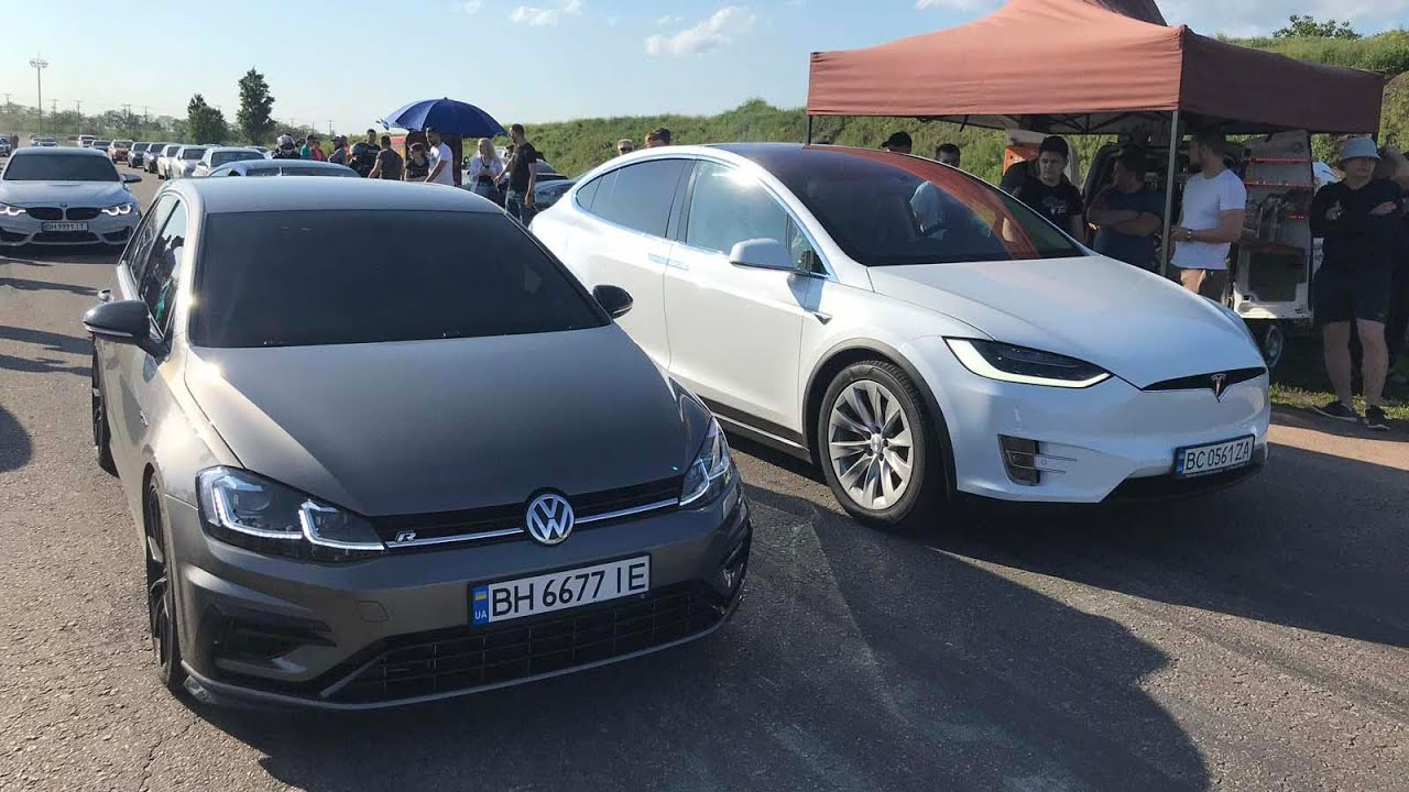 Привет тебе ИЛОН МАСК от Volkswagen. Golf R vs TESLA P100D, BMW M3 G80