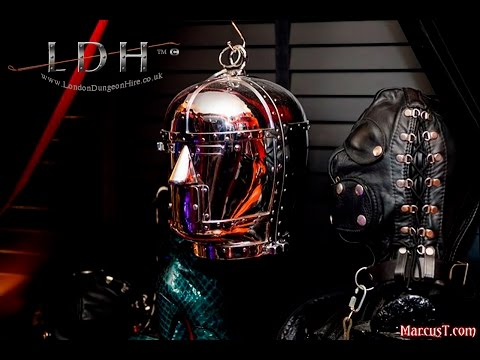 Nickle plated steel bondage helmet at London Dungeon Hire