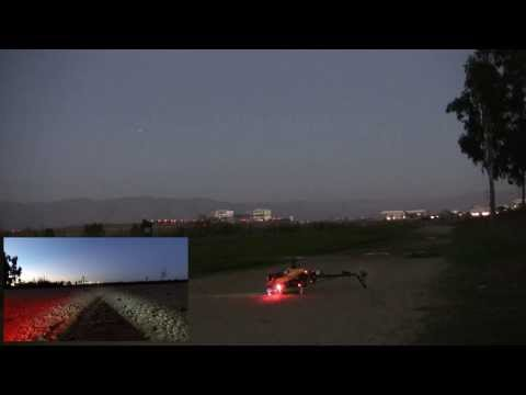 Trex500 Arducopter flight at dusk over Baylands Park,  Sunnyvale, CA