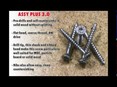 Wurth ASSY Screws in Particle Board and Solid Stock Edge to Edge Application