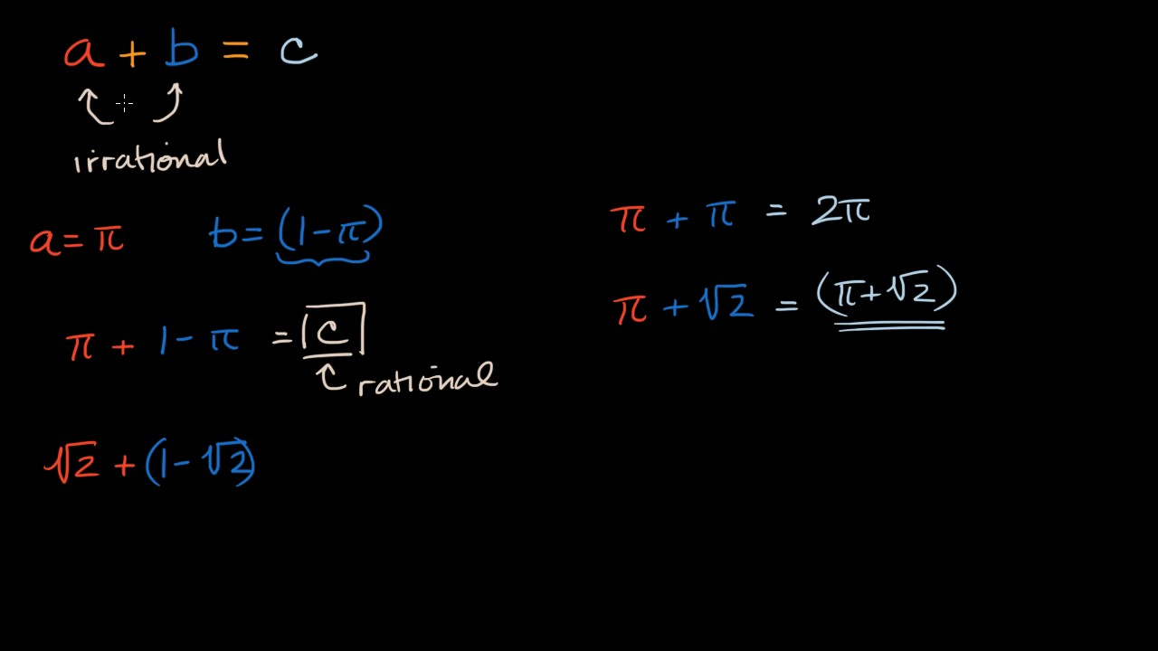 Sums and products of irrational numbers (video) | Khan Academy