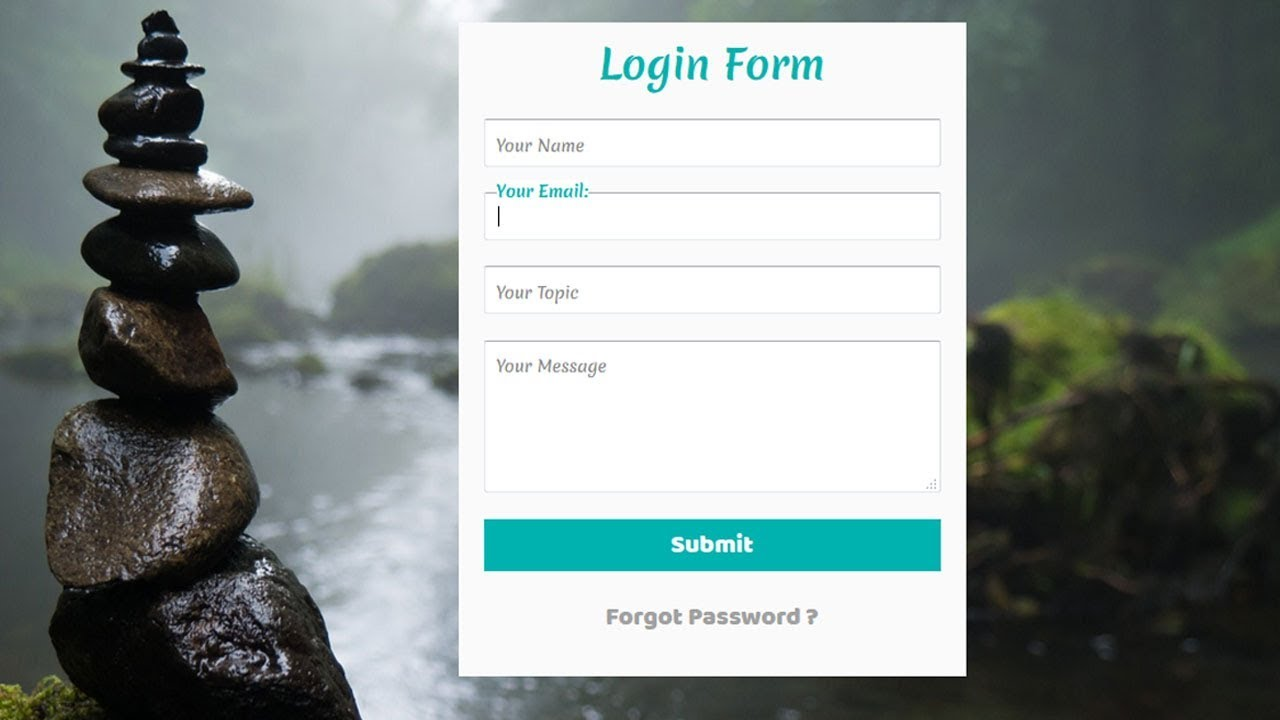 Simple Contact form with Floating Label animation | Login Form with  floating Placeholder Text