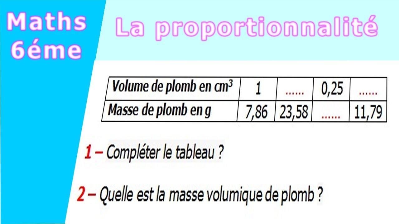 Maths 6ème - La proportionnalité la masse volumique ...