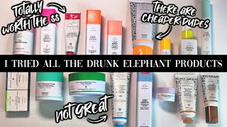 I TRIED ALL THE PRODUCTS DRUNK ELEPHANT MAKES // Best + Worst + DUPES