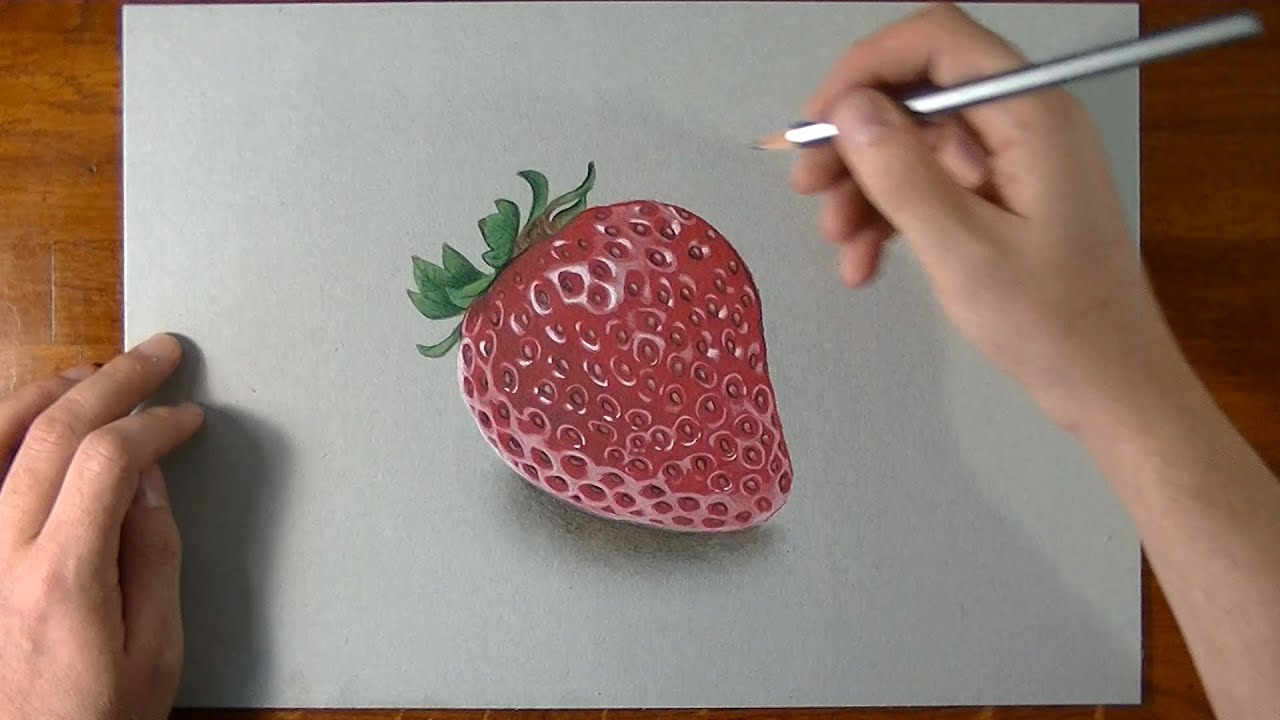 Disegno in time lapse effetto 3d natura morta fragola for Disegno 3d free