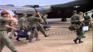 US 1st Infantry division soldiers board CV-2 Caribou airplane in Binh Duong Provi...HD Stock Footage