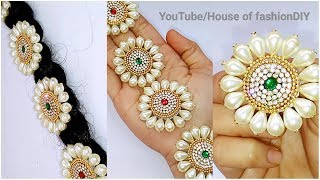How To Make Bridal Hair Accessories Using Pearls//Jada Billalu At Home..!