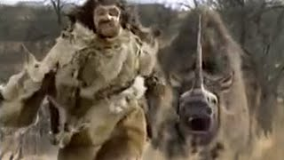 Neanderthal vs woolly rhino - BBC
